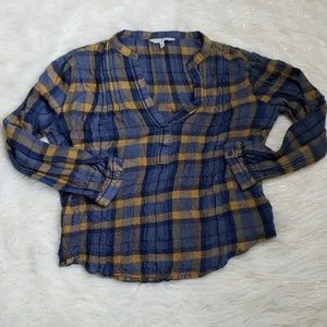 Lucky Brand | Plaid V-Neck Long Sleeve Crop Top